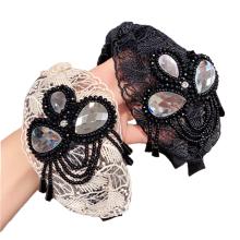 Bandeau fascia per capelli Lace Rhinestone Headband Luxury Hair Accessories Tassel Knot Bow  Hairband Baroque Vintage For Women