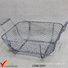 Vintage Retro Gray Coloured Metal Wire Basket for Storage