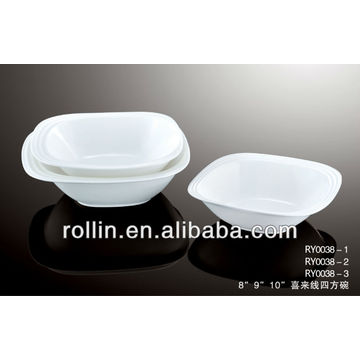 Chinese square shallow big crockery bowl with happy lines decoration