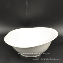 European Plain White Color Glazed Ceramic Salad Bowl
