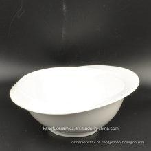 Bacia de salada cerâmica vitrificada branca lisa europeia