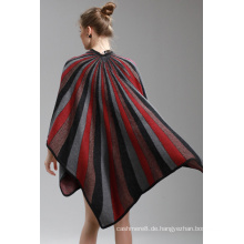 Womens Cashmere Feel Alike Fancy Streifen Druck Cape Stola Poncho Schal (SP291)