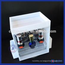 Venta al por mayor de acrílico blanco esmalte de uñas maquillaje organizador de almacenamiento de cosméticos
