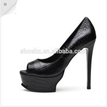 2016 элегантный высокий каблук туфли, голова рыбы обувь, черный платформы высокие каблуки