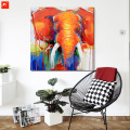 Orange Elephant Oil Painting with Frame