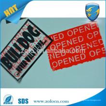 Tienda en línea china adhesivo adhesivo de seguridad abierto vacío impresión de etiquetas personalizadas