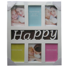 6 Opening 4 by 6 Happy White Plastic Collage Frame