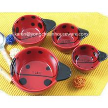 Joaninhas conjunto de cerâmica de 4 copos de medição
