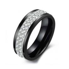 Novo design de moda barato ouro preto diamante jóias anel de cerâmica