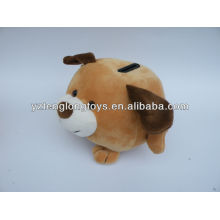 Dog shaped plush toy coin bank for kids to save money