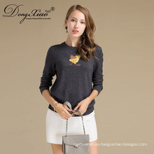 Fabricante profesional 12gg Crewneck 100% Women Pure Cashmere Sweater