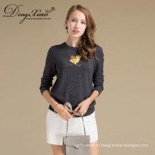Профессиональное изготовление 12гг округлым вырезом 100% женщин чистая кашемир свитер