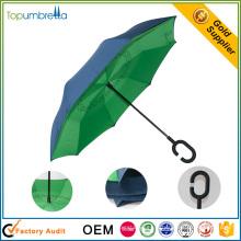 Artisanat exquis Double couche Manuellement inverse parapluie pliant