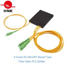 1: 4 Sc / APC Singlemode tipo de caja Fibra Óptica PLC Splitter