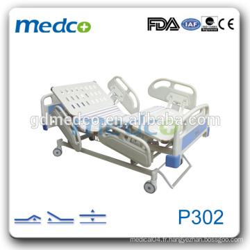 P302 3 Grande rampe ABS à hauteur réglable 3 fonctions lit d'hôpital électrique