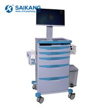 Chariot médical d'infirmière d'urgence d'ABS en plastique d'hôpital de SKR024-WT avec des tiroirs