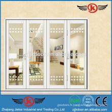 JK-AW9104 blanc pur blanc belle porte coulissante en verre intérieur à quatre vantaux