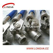 Válvula de bola sanitaria manual del acero inoxidable CF8m
