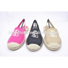 With embroidery pattern summer shoes jute sole flat women sandals