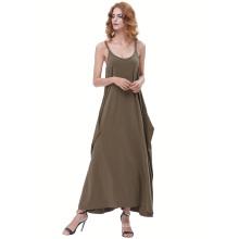 Kate Kasin Womens Casual Loose Spaghetti Straps Dark Olive Green Boho Harem Dress KK000712-3