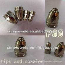 Plasma torch tip nozzles