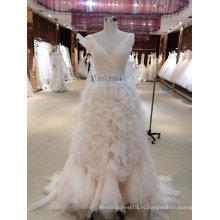 V шеи многоуровневое дно розовое свадебное платье с поясом