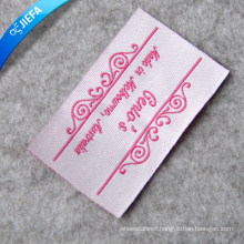 Custom Pink Brand Logo Woven Label for Woman Clothing