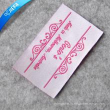 Rótulo tecido com logotipo rosa personalizado para roupas femininas