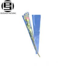 Douille de bouquets de fleur transparent bopp en plastique personnalisé pour sac rose