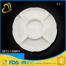 melamine decorative tableware 5 section white round divided plate