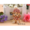 Poodle dog fashion crystal keychain creative men and women couples bags hanger accessories gold plated rhinestone metal keyring
