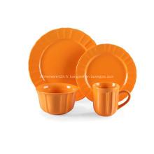 16 pièce en grès dîner ensemble couleur Orange