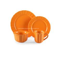 16 pedaço grés jantar conjunto cor laranja