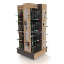 4-Caster Flooring Stand de exposição de produtos de madeira sólida, vidro de publicidade Copas de vinho Contraplacado Display Stand