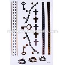 Etiqueta de tatuagem de design de chave de asa de ouro de alta qualidade, tatuagem metálica, tatuagens temporárias de ouro