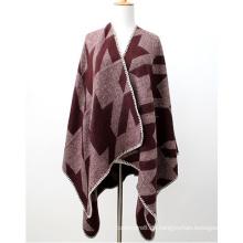 Womens Soft Cashmere fühlen sich wie Schlucken Gird Printing Stola Poncho Schal (SP287)