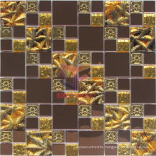 Flower Pattern Gold Leaf Crystal Mix Metal Mosaic (CFM921)