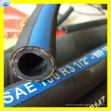 Tuyau hydraulique tressé de tuyau d'huile de durite de tuyau de SAE R3 Tuyau de caoutchouc de 3/8 pouces