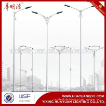 Road and street single-arm galvanized tapered lamp pole