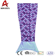 Customized purple printed flannel fleece mermaid tail blanket with sequins tail