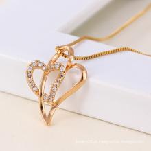 Moda coração CZ pingente em cor de ouro rosa