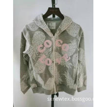 casual printed nylon zip front hooded girls jacket