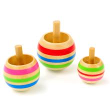 FQ marca tradicional bolsillo niños niños pequeños juguete de madera juego niño trompos