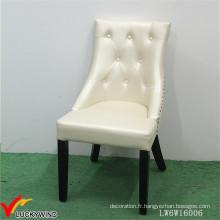 Belle Europe Antique Beige Chaise en bois Tapisserie en cuir