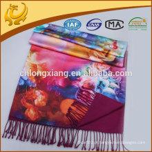 Mulher 100% Pure Silk Double Layer, Lenços de seda Vietnam com Tassel Hand Made