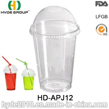 Tasse jetable transparente d'animal familier de 12oz, tasse jetable avec le couvercle