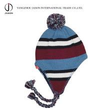 Chapéu de malha de acrílico quente chapéu de malha Earflap tricotado chapéu Bobble orelha Flap Beanie chapéu