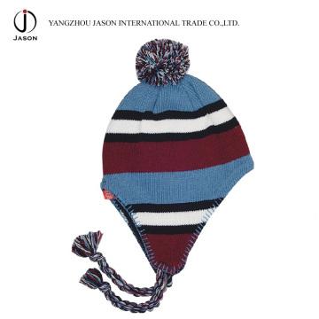 Chapeau tricoté acrylique chaud tricoté toque earflap tricoté chapeau Bobble oreille rabat beanie chapeau