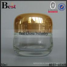 50 g tarro de cristal oval claro con tapa de oro, tarros de crema para cara de vidrio, tarros de crema de contenedor