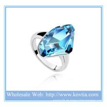 Personalisierte Mode österreichischen Kristall 18K Gold Barren Schmuck bule Diamant Verlobungsring